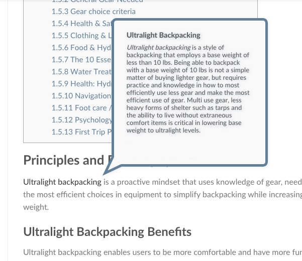 Ultralight Backpacking Glossary Tooltip Alpine Science